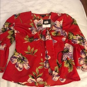 Topshop Red Tie In Front Blouse Size 2 NWT